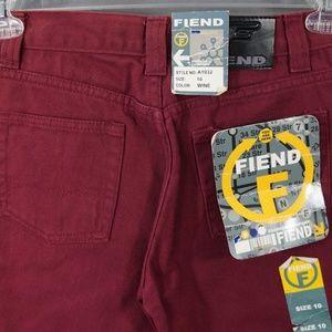 Vintage 90's Fiend Jeans Wine Color NWT
